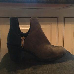 Grey and black heeled booties